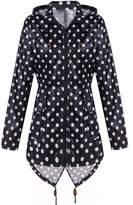 Meaneor Women's Long Sleeve Fishtail Dot Print Cute Raincoat Waterproof Jacket Sky Blue XXL