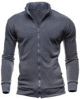 Fashion Story Men Retro Fleece Sweater Leisure Casual Sport Cardigan Zipper Coat