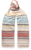 Loewe Striped Fringed Cotton Scarf