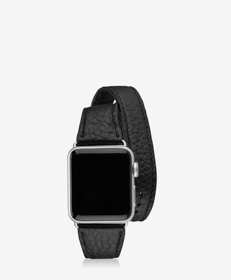 GiGi New York 38mm Double Wrap Apple Watch Band, Black Pebble Grain