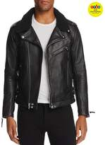 John Elliott Shearling-Collar Leather Biker Jacket - GQ60, 100% Exclusive