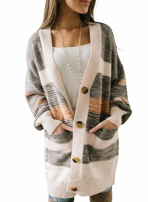 FOBEXISS Women's Casual Cardigan Button Up Knitted Open Front Long Sleeve Mid-Length Warm Cardigan Sweater for Autumn Winter Gray