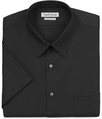Van Heusen Tall Easy-Care Poplin - Big & Tall Mens Point Collar Short Sleeve Dress Shirt