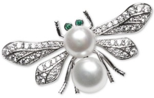 Macy's Cultured Freshwater Pearl (8mm & 9mm) & Cubic Zirconia Bee Pin in Sterling Silver
