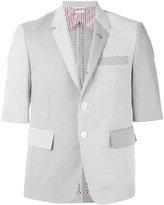 Thom Browne shortsleeved patchwork blazer - men - Cotton/Cupro - 1