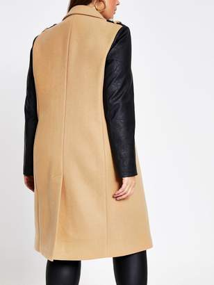 Ri Plus Double Breasted PU Sleeve Military Coat - Camel