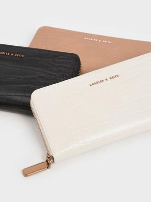Charles & Keith Croc-Effect Mini Long Wallet