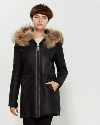 Intuition Paris Real Fur-Trimmed Reversible Leather Coat