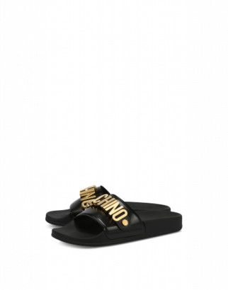 Moschino Pvc Sandal Slide With Lettering Logo Woman Black Size 36 It - (6 Us)
