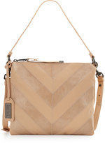 Badgley Mischka Remy Snake-Embossed Leather Crossbody Bag, Latte