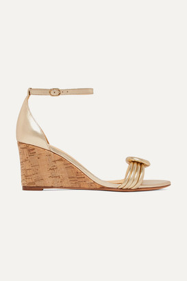 Alexandre Birman Vicky Knotted Leather Wedge Sandals - Gold