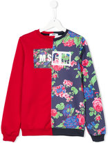 MSGM two-halves floral sweatshirt