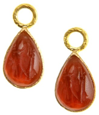 Elizabeth Locke Venetian Glass Intaglio Amber 'Small Pear Shape' 19K Gold Earring Pendants