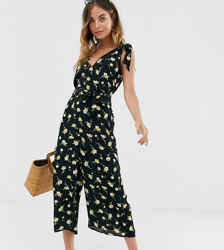 Miss Selfridge Petite jumpsuit with tie shoulders in floral print-Black