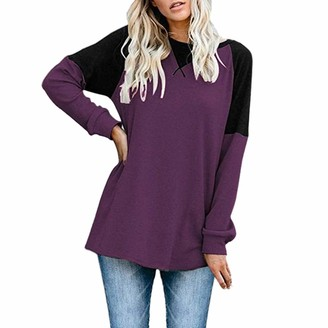 DOMBX Women's Oversized Long Sleeve Round Neck Tunic Tops Blouse Elegant Basic Tees T-shirt Womens Cotton Linen Patchwork Slim Fit Party Shirts Sweatshirt Jumper Cardigan Pullover Autumn Winter