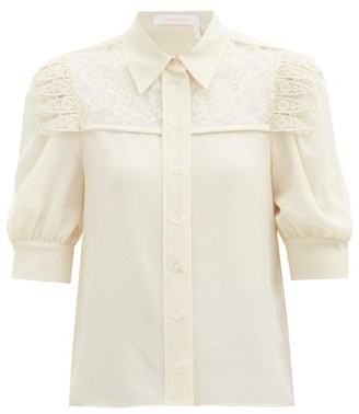 See by Chloe Lace-panelled Georgette Blouse - Beige