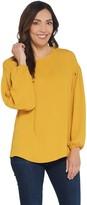 Martha Stewart Woven Blouse with Blouson Sleeves