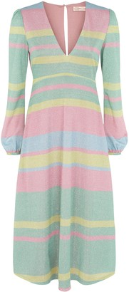 Traffic People Mama Mia Pastel Stripe Midi Dress In Multicoloured