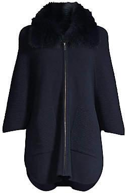 Sofia Cashmere Women's Fox-Fur Collar Ottoman Ribbed Cashmere Cardigan