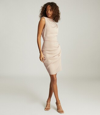 Reiss Bali - Ruched Bodycon Dress in Nude