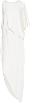 Halston Asymmetric Draped Satin Midi Dress
