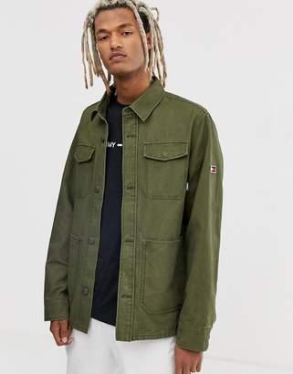 Tommy Jeans multi pocket cargo jacket in olive-Green