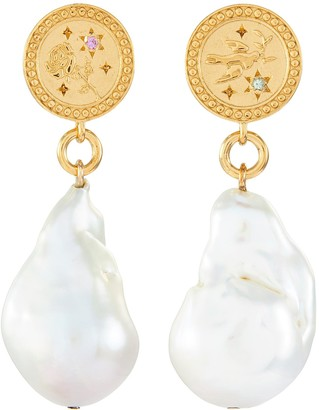 Meadowlark 'Amulet' sapphire gold-plated pearl drop earrings