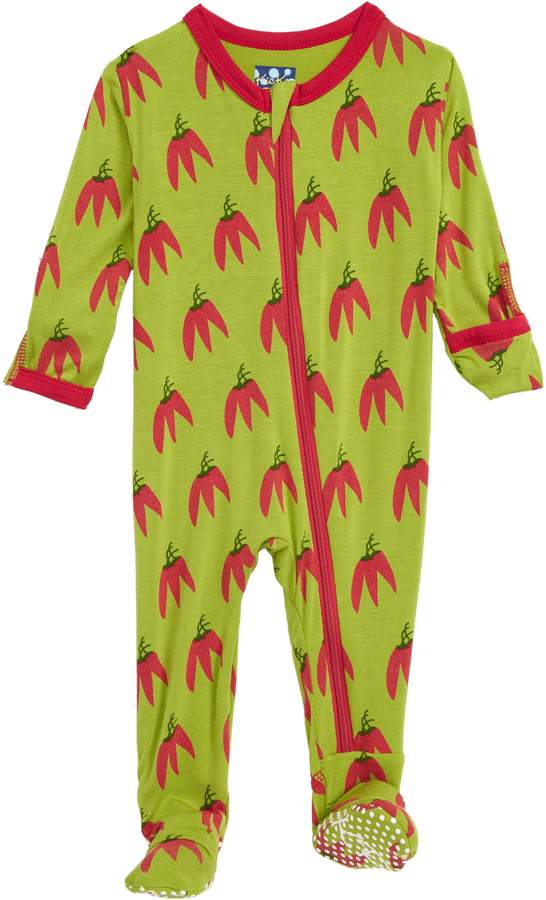 Kickee Pants Chili Pepper Print Zip Footie