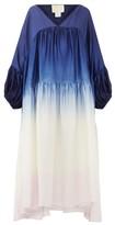 Anaak - Airi Ombre Silk-habotai Dress - Womens - Navy Multi