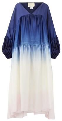 Anaak - Airi Ombre Silk-habutai Dress - Womens - Navy Multi