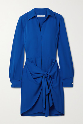 Derek Lam 10 Crosby Harper Tie-front Crepe Mini Shirt Dress - Royal blue