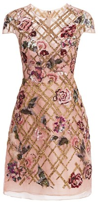Marchesa Embroidered Mini Cocktail Dress