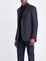 Brioni Checked regular-fit wool and silk-blend jacket