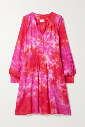 HONORINE Paola Tie-dyed Crinkled Cotton-gauze Dress - Pink