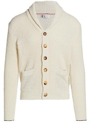 Brunello Cucinelli Cotton & Linen Shawl Collar Cardigan