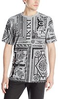 Southpole Men's Flock and Screen Print Graphic T-Shirt with All Over Patterns