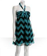 turquoise chevron silk chiffon halter dress