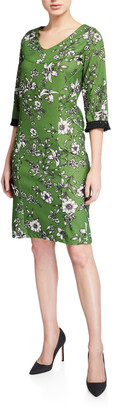 Melissa Masse Floral V-Neck 3/4-Sleeve Stretch Crepe Dress