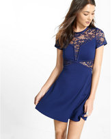 Express lace inset fit and flare dress