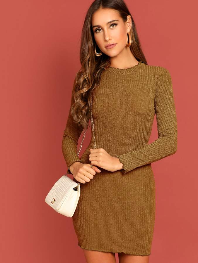 Shein Lettuce Edge Rib Knit Dress