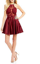 Abbi Vonn by La Femme Embroidered Illusion Bodice Fit-And-Flare Dress