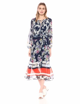 Taylor Dresses Women's Plus Size Long Sleeve Floral Print Maxi Dress