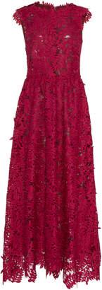 J. Mendel Sleeveless Guipure Lace Midi Dress