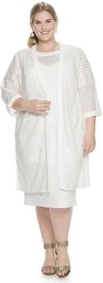 Maya Brooke Plus Size Lace Duster Jacket & Dress Set
