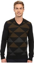 Perry Ellis Diamond Color Block V-Neck Sweater