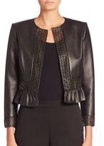 Carolina Herrera Laser-Cut Leather Jacket