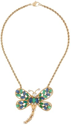 Christian Dior 1970 Embellished Butterfly Pendant Necklace
