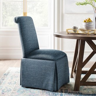 Kelly Clarkson Home Lillian Upholstered Solid Back Skirted Side Chair Upholstery Color: Bahama