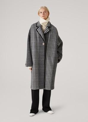 St. John Felted Wool Plaid Knit Coat