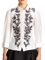 Carolina Herrera Embroidered Silk Blouse